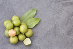Fresh ripe peeled quenepa fruit - Melicoccus bijugatus. Delicious Tropical Fruit Mamoncillo - Melicoccus bijugatus Stock Photo