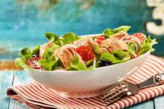 Delicious tuna fish salad in bowl with fork stock image
