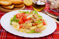 Delicious tuna salad. With pasta, lettuce and tomato Royalty Free Stock Image