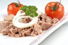 delicious tuna salad with organic tomato Stock Photos