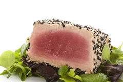 Delicious tuna steak close up. Royalty Free Stock Photography