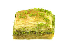 Delicious Turkish baklava with green pistachio nuts. Royalty Free Stock Image