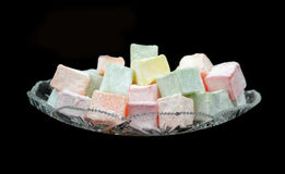 Delicious Turkish Delight in a crystal plate. Royalty Free Stock Photography