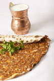 Delicious Turkish pizza lahmacun. On  background Stock Photos