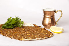 Delicious Turkish pizza lahmacun. On  background Stock Photo