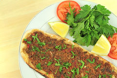 Delicious Turkish Pizza. ( Lahmacun or Etli ekmek ) Royalty Free Stock Photography