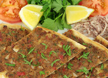 Delicious Turkish Pizza. ( Lahmacun or Etli ekmek ) Royalty Free Stock Image