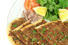 Delicious Turkish Pizza. ( Lahmacun or Etli ekmek ) Stock Photo