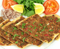 Delicious Turkish Pizza. ( Lahmacun or Etli ekmek ) Royalty Free Stock Photo