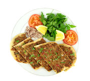 Delicious Turkish Pizza. ( Lahmacun or Etli ekmek ) Stock Photos