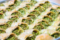 Delicious Turkish sweet, baklava with green pistachio nuts.  stock photography