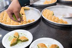 Delicious Turkish sweet, baklava with green pistachio nuts.  stock image