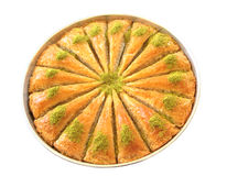 Delicious Turkish sweet, baklava with green pistachio nuts Stock Photo