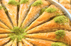 Delicious Turkish sweet, baklava with green pistachio nuts Stock Images
