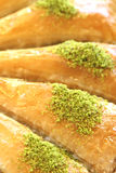 Delicious Turkish sweet, baklava with green pistachio nuts Royalty Free Stock Photos