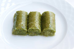 Delicious Turkish sweet, wrapped green pistachio nuts ( Sarma ) Royalty Free Stock Photography