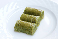 Delicious Turkish sweet, wrapped green pistachio nuts ( Sarma ) Stock Photography