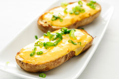 Delicious twice baked potatoes smothered with aged cheddar chees Stock Photography