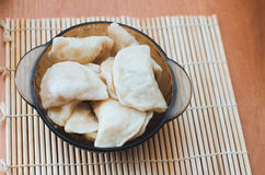 Delicious Ukrainian dumplings. Fresh cooked homemade Ukrainian dumplings with potato filling Stock Photo