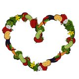 Vector icons of vegetables, installed in a cartoon style, are folded into a square frame in the form of a heart Royalty Free Stock Photo