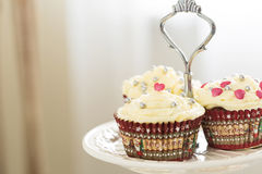 Delicious Valentine Day Chocolate Cupcakes with Beautiful Decoration, Horizontal Stock Photo
