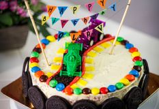 Delicious vanilla cake for children birthday party Royalty Free Stock Photos