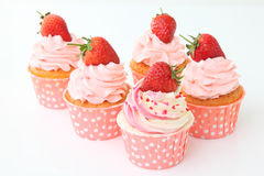 Delicious vanilla cupcake with strawberry Royalty Free Stock Photography