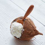 Delicious vanilla ice cream in coconut Stock Photos