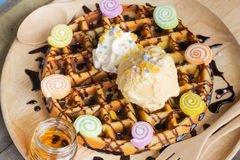 Delicious vanilla ice cream with waffle Royalty Free Stock Images