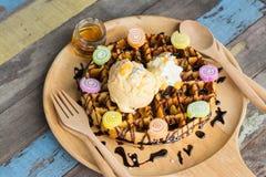 Delicious vanilla ice cream with waffle Stock Photography