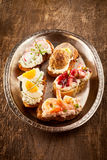 Delicious variety of homemade canapes. On crispy toasted baguette with prawns, eggs, radish, meatball and strawberry toppings on quark or cottage cheese served Stock Images