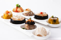 Delicious variety steamed Dim sum. On plate royalty free stock photo