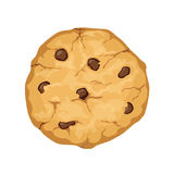 Delicious vector cartoon cookie with chocolate chips isolated on. White background vector illustration