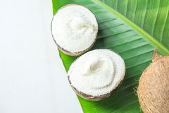 Delicious Vegan Ice Cream in Coconut Bowls on Large Green Palm Leaf on White Marble Stone Tabletop. Plant Based Diet Healthy Sweet. Delicious Vegan Ice Cream in stock photo