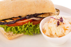Delicious vegan vegetarian burger with grilled eggplant royalty free stock photography