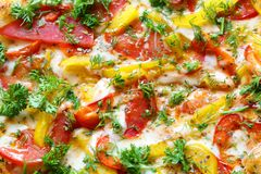 Delicious vegetable cheese pizza Stock Photo