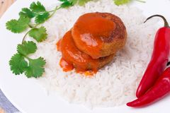 Delicious vegetable cutlets with rice Stock Photos