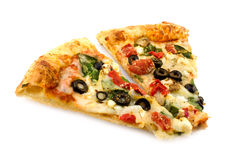 Delicious vegetable pizza. Two pieces of vegetable pizza isolated on white Stock Photography