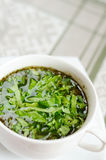 Delicious vegetable soup with sorrel Stock Image