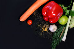 Delicious vegetables on black Stock Photo