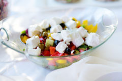 Delicious vegetables and goat cheese salad served on a party or wedding reception Royalty Free Stock Photo