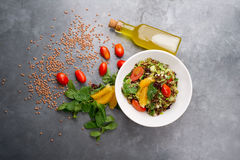 Delicious vegetarian lentil salad with lemon, mint and cherry tomato Stock Images