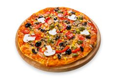 Delicious vegetarian pizza with tomatoes, mushrooms and olives Stock Photos