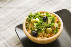 Delicious vegetarian rice with olives Stock Image