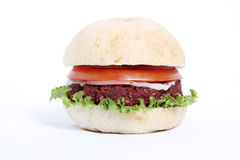 Delicious veggie burger. With cheese, onion and tomato Royalty Free Stock Photography