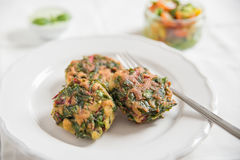 Delicious veggie burger patty with chard Royalty Free Stock Images
