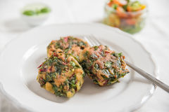 Delicious veggie burger patty with chard Stock Photo