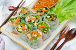 Vietnamese fresh spring rolls. Stock Photos