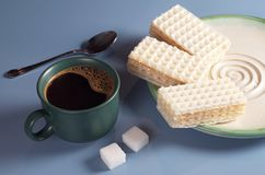 Delicious wafers and coffee Royalty Free Stock Photo