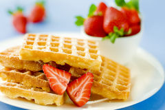 Delicious wafers with strawberry Royalty Free Stock Photo